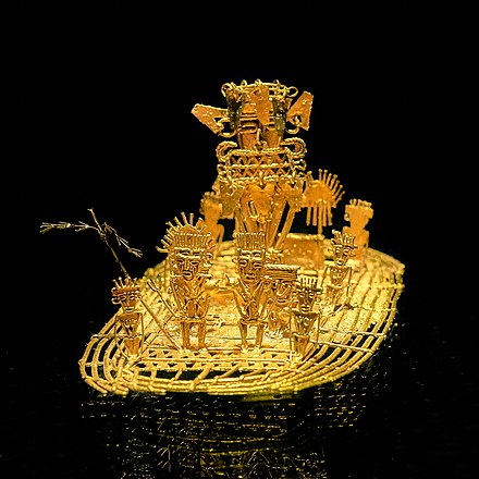 Muisca raft. The figure refers to the ceremony of the legend of El Dorado. Gold Museum, Bogota (36145671394).jpg
