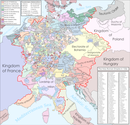 The Holy Roman Empire when the Golden Bull of 1356 was signed Golden Bull of 1356.png