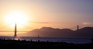 Golden Gate Bridge with the Sun and Sundog