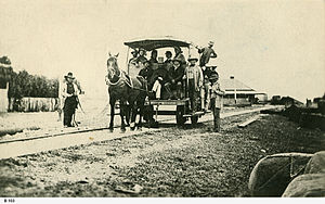 South Australian Railways - The horsedrawn Goolwa to Port Elliot railway, in 1860