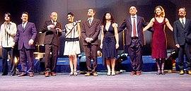 Gotan Project am Ende eines Konzerts in Porto, Portugal