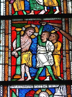 Flagellation of Christ - German stained glass, ca 1240.