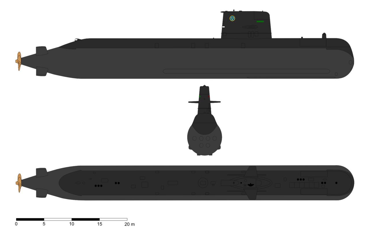 Desenho em três vistas do submarino sueco da classe Gotland