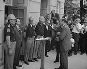 Alabama governor George Wallace attempting to stop desegregation at the University of Alabama in 1963.