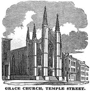 Grace Church (Boston) - Image: Grace Church Temple St Boston Homans Sketches 1851