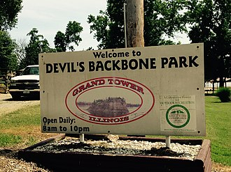Grand Tower, Illinois - Tower, Illinois, Devil's Backbone Park sign