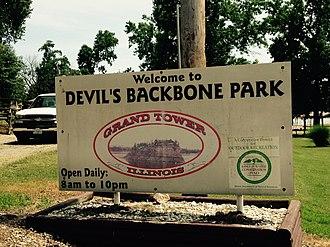 Grand Tower, Illinois - Devil's Backbone Park sign