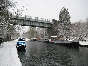 Watford tube station - The existing Watford branch viaduct over the Grand Union Canal and River Gade