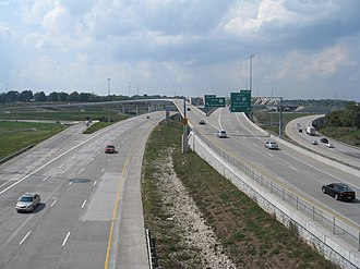 Grandview Triangle - The 3-Trails Crossing Memorial Highway as seen from the east, on the Hillcrest Road bridge over I-470, before US71 south was upgraded to I-49.