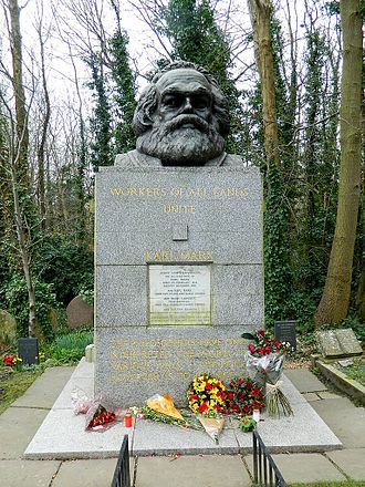 Far-left politics in the United Kingdom - Tomb of Karl Marx at Highgate Cemetery, London. Many far-left groups derive from his ideas.