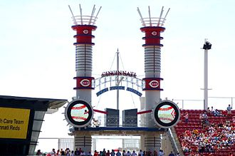 "Great American Ball Park - The centerfield ""smokestacks"""