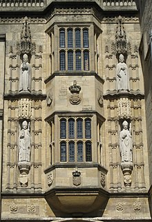 Oriel windows with statues