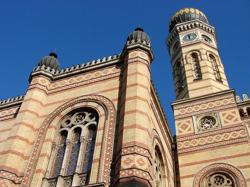 Grande synagogue de Budapest, détails de la façade.