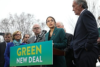 Alexandria Ocasio-Cortez - Ocasio-Cortez speaks on a Green New Deal in front of the Capitol Building in February 2019.