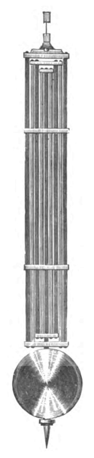 Gridiron pendulum - 9-rod brass-steel gridiron