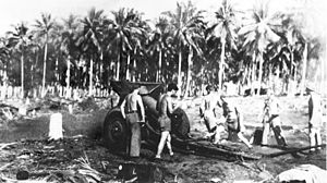 11th Marine Regiment (United States) - 11th Marines cannoneers man a M1918 155 mm howitzer during the Guadalcanal Campaign.