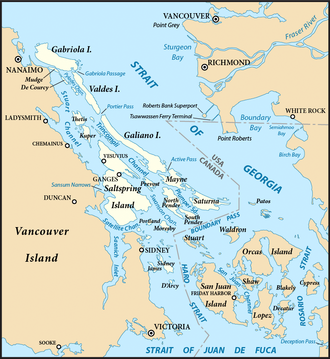 Gulf Islands - Southern Gulf Islands (highlighted) and surrounding region.