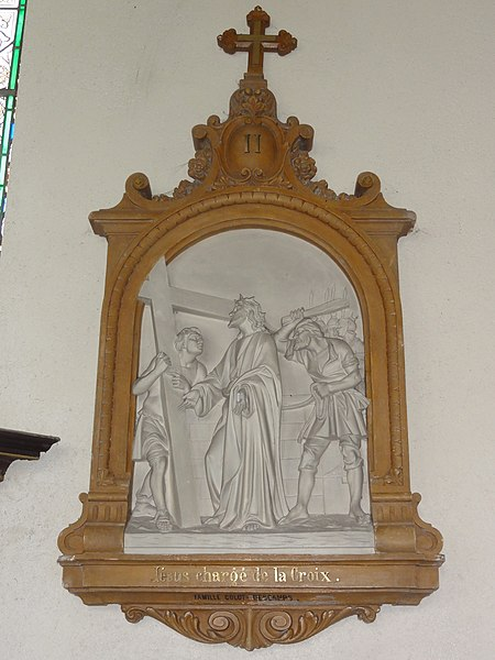 Gussignies (Nord, Fr) église, chemin de croix, station 02.