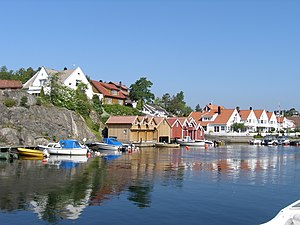 Søgne - View of the harbour at Høllen