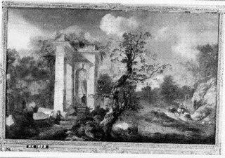 Landschap met klassieke ruïnes