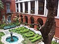 HK Mid-levels 般咸道 Bonham Road 英皇書院 garden King's College fig tree fountain Archways Mar-2012.jpg