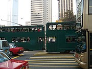 Hong Kong Tramways passing each other at Central.