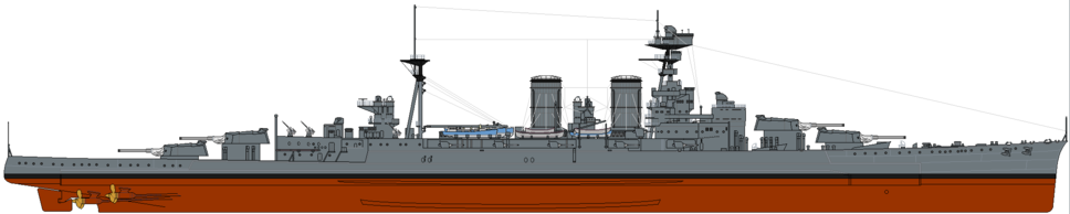 HMS Hood (1921) profile drawing