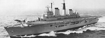 HMS Invincible, one of two aircraft carriers that the Royal Navy had available for the task force HMS Invincible (R05) underway c1981.jpg