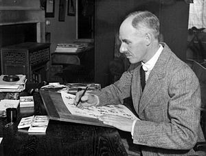H. M. Bateman - H.M. Bateman working at his home in Reigate, Surrey, 2 December 1931