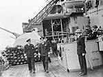 HM King George VI on a tour of inspection of HMS MALAYA during a visit to the Home Fleet at Scapa Flow, 13 August 1943. A18624.jpg