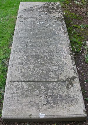 Oliver Lyttelton, 1st Viscount Chandos - St John the Baptist Church, Hagley, grave of Alfred Lyttelton, where also the 1st Viscount Chandos' ashes are interred.