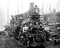 Hall and Bishop Logging Co crew returning on logging railroad, Gettysburg, Washington, ca 1900 (INDOCC 277).jpg