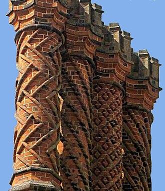 Brickwork - Decorative Tudor brick chimneys, Hampton Court Palace, UK