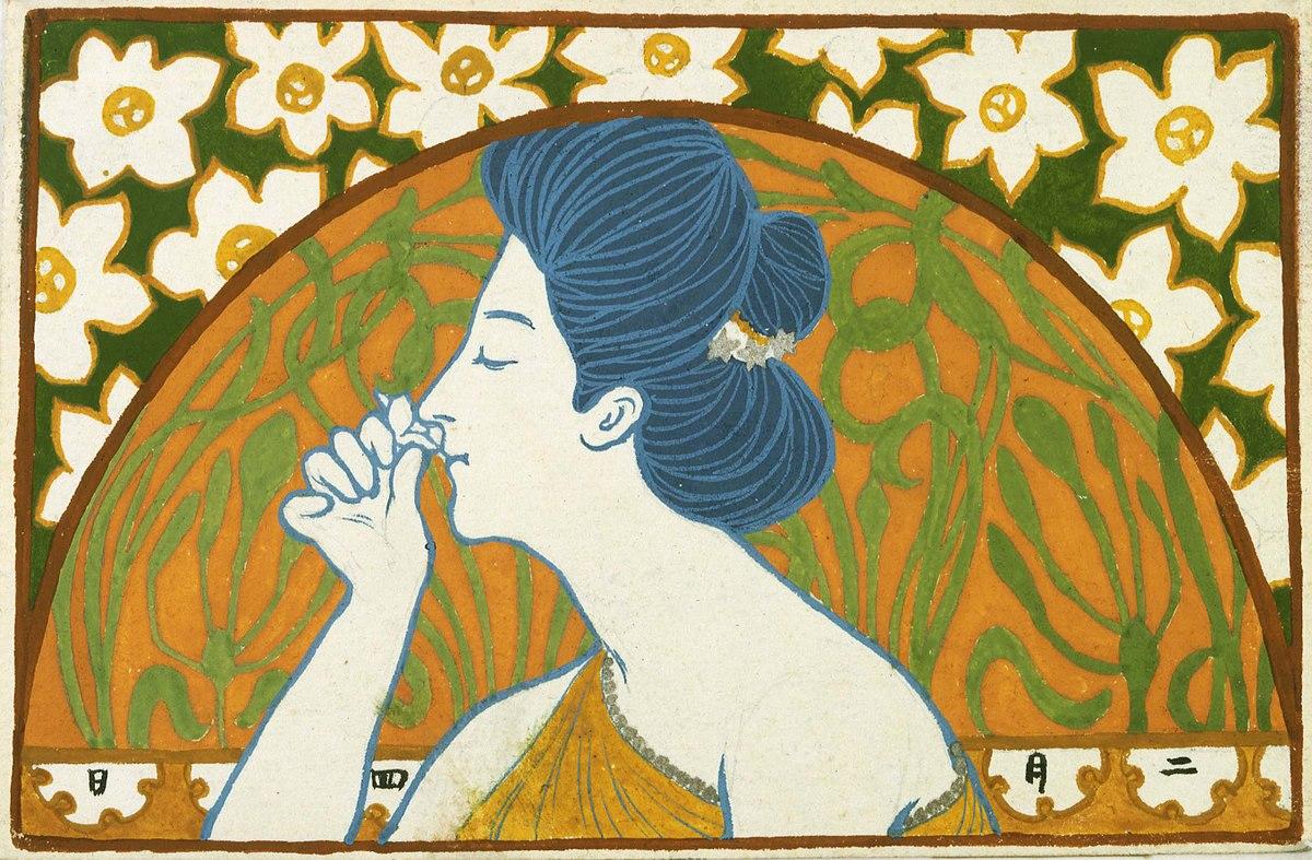 Hana no kō o kagu onna by Hashiguchi Goyō.jpg