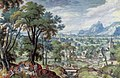 Hans Bol - Landschap met Jacob die de dekplaat van de bron wentelt, zodat Rachels vee kan drenken (Genesis 29-9-10) - 1909 - Städel Museum.jpg