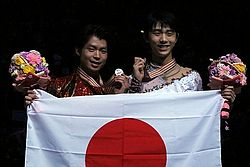 Hanyu and Machida at the 2014 World Championships.jpg
