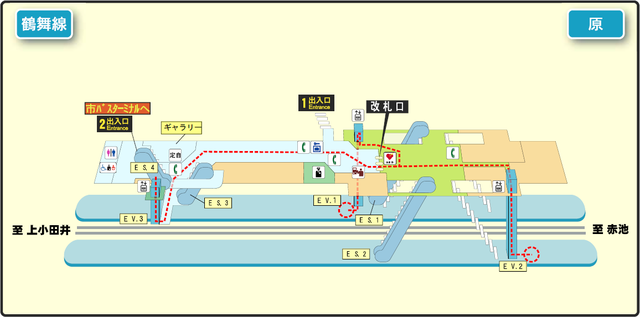 Hara station map Nagoya subway's Tsurumai line 2014.png