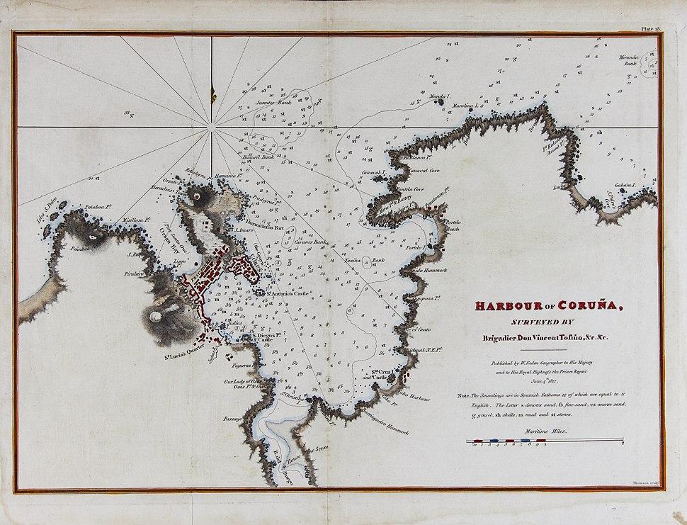 Harbour of Coruña (map, 1812)