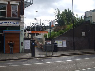 Harringay Green Lanes railway station - Image: Harringay Green Lanes stn entrance eastbound