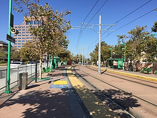 Hazard Center station station on San Diego Trolleys Green Line