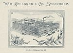 Vy över W:m Hellgrens fabriks och bostadskomplex vid Götgatan och Åsögatan 1897.