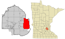 Location in Hennepin County and the state of Minnesota