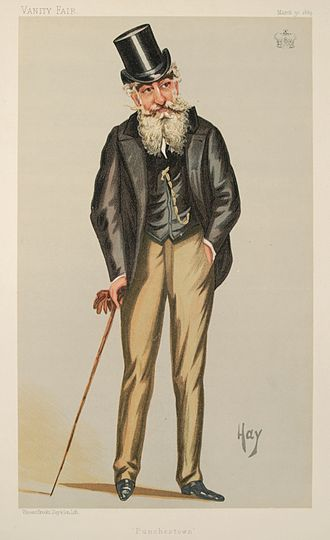 """Earl of Drogheda - """"Punchestown"""". Henry Moore, 3rd Marquess of Drogheda, as caricatured in Vanity Fair, March 1889."""