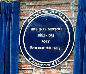 Henry Newbolt - Blue plaque near Newbolt′s birthplace.