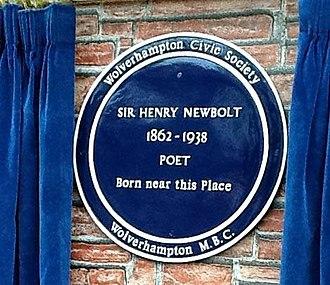Henry Newbolt - Blue plaque near Newbolt′s birthplace.