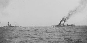 1st Battle Squadron - Revenge and Hercules en route to Jutland with the sixth division.