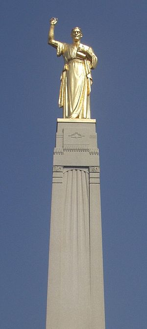 Cumorah - The statue of Moroni atop Hill Cumorah in Western New York.