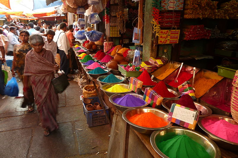 Colours Holi at a market in Mysore