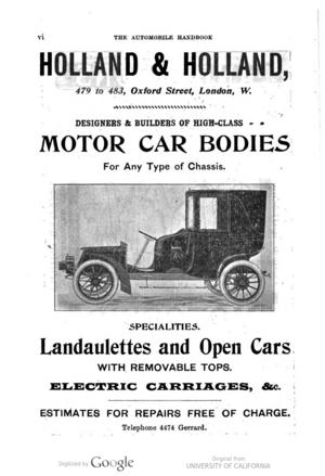 Holland & Holland coachbuilders - Image: Holland & Holland advertisement 1904