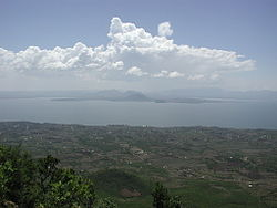 Homa Bay, on Winam Gulf, Lake Victoria, Kenya; View from atop Mount Homa.